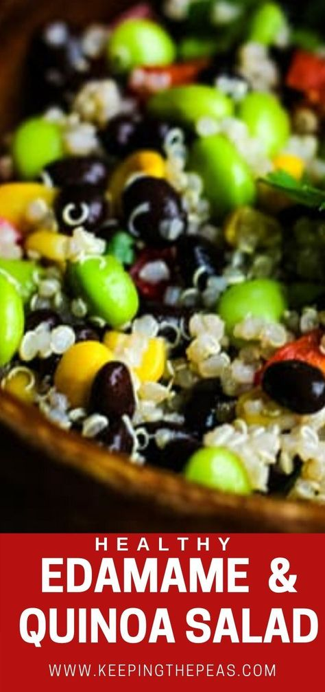 This healthy edamame salad is made with quinoa, black beans, red pepper, and corn tossed in an oil-free lime dressing. It's packed with plant protein, dense in nutrients, and a family favorite. #edamamesalad #healthyedamamesalad #edamame #edamamequinoasalad