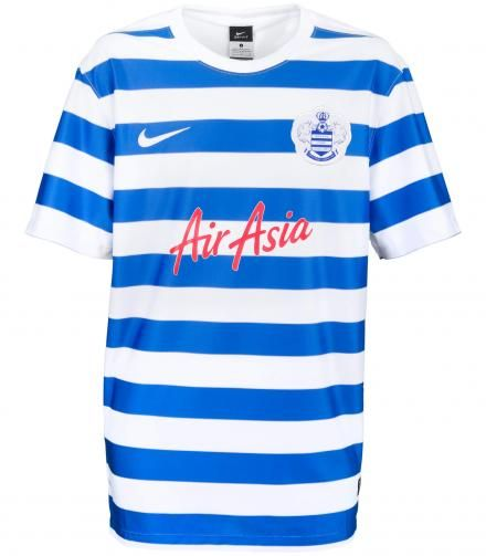 d398b30b Queens Park Rangers FC 2014/15 Home Kit - Blue and white althernating  horizontal stripes with a white collar hem. Nike. Premier League.