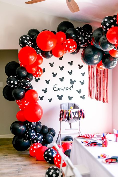 """Make next Mickey Mouse party """"INSTA-WORTHY"""" with our DIY Balloon Garland Kit! Our DIY kits come with everything you need to make your balloon garland look like a pro did it! No experience necessary! Mickey Mouse Theme Party, Mickey Mouse Birthday Decorations, Mickey Mouse Balloons, Mickey 1st Birthdays, Mickey Mouse First Birthday, Mickey Mouse Clubhouse Birthday Party, Mickey Mouse Cake, 1st Birthday Parties, Elmo Party"""