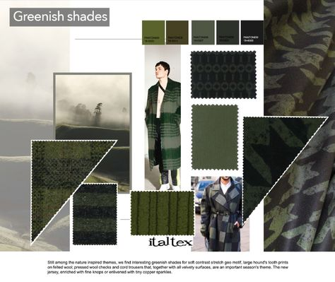 From the Italtex seminar on fabric and color trends Winter 19-20 at Intertextile Shanghai: interesting greenish shades for soft contrast stretch geo motifs, large hound's tooth prints on felted wools