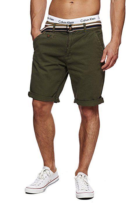 472c607bede73 INDICODE Herren Cuba Shorts Bermuda kurze Hose inkl. Gürtel Grün ...