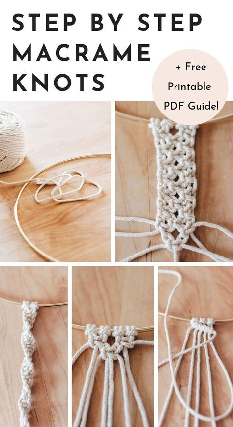 Finally Learn Macrame! With this step by step guide to Basic Macrame Knots - you'll be on your way in no time. Includes a free printable pdf for future reference. Save this pin and click through to pick up your hobby! #DIY #diyhomedecor #macrame #macrameknots #crafts #tutorial