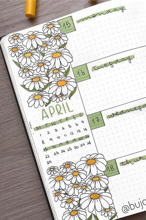 Best Daisy Bullet Journal Spread Inspiration For 2020 - Crazy Laura - - If you want to give your layouts a warm weather, floral vibe this month, check out these super cute daisy bullet journal spreads for inspiration! Bullet Journal School, Bullet Journal Headers, Bullet Journal Cover Page, Bullet Journal Writing, Bullet Journal Aesthetic, Bullet Journal Layout, March Bullet Journal, Art Journal Challenge, Art Journal Pages