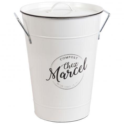 Chez Marcel White Metal Compost Bucket Compost Bucket Trash Can Maisons Du Monde