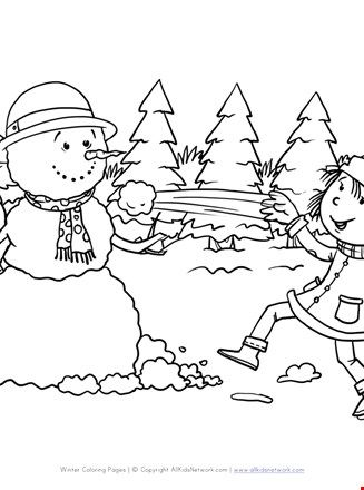 Snowball Fight Coloring Page All Kids Network Coloring Pages Fighting Drawing Ball Drawing