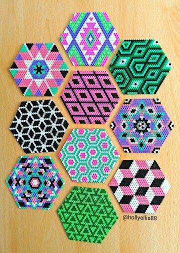 projects design unique coasters.  Hama perler bead designs by Holly Ellis Pinteres