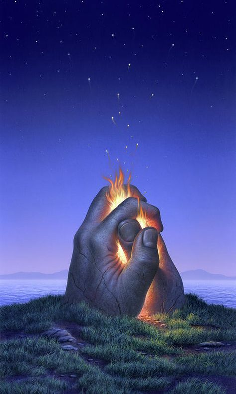 Fire Art Print featuring the painting Embers Turn To Stars by Jerry LoFaro