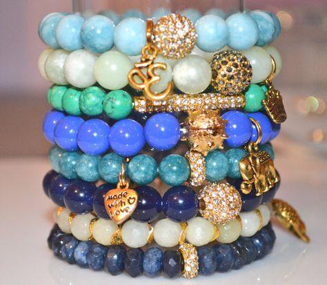 Beaded Bracelets Stacking Bracelets Stretch Bracelets Set-Jade/Quartz/Aventurine/Turquoise/Blue/GreenWhite-Elephant/Crown/Buddha/Ohm/Heart