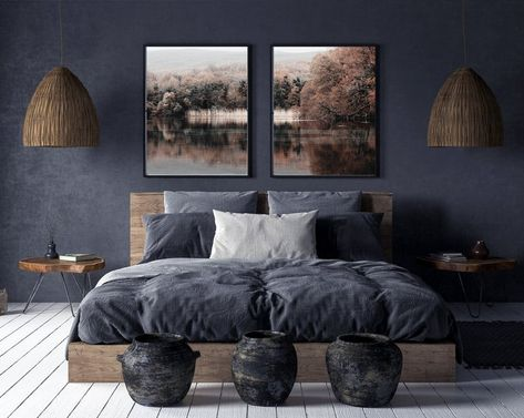 Nature Photography,Set of 2 Autumn Landscape Photo,Fall Wall Art,Tree Print,Reed Home Decor Bedroom, Modern Bedroom, Modern Wall, Dark Master Bedroom, Dark Gray Bedroom, Dark Bedroom Walls, Bedroom Ideas, Charcoal Bedroom, Man's Bedroom