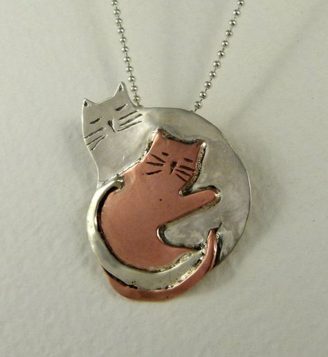 Cats Twilla And Ophelia Take A Nap - Up Cycled Sterling And Copper - Women - Strength - Empowerment - Echo Friendly - Cat Pendant - 1700