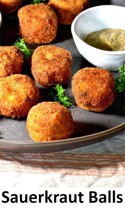 German Sauerkraut Balls - The perfect snack or appetizer for your Octoberfest celebration. They're crispy little nuggets for all to enjoy!