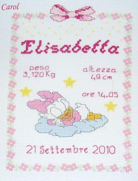 List Of Fiocco Nascita Punto Croce Schemi Bimba Images And