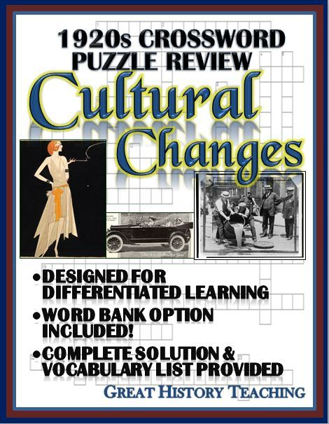 1920s Crossword Puzzle Review Cultural Lifestyle Changes