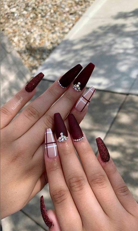 Gorgeous Nails, Pretty Nails, Amazing Nails, Perfect Nails, Red Wedding Nails, Cute Acrylic Nail Designs, Fall Nail Designs, Christmas Nail Designs, Plaid Nail Designs