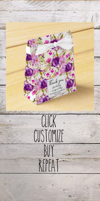 Lilac and Purple Watercolor Floral Wedding Favor Box #weddingreceptionfavors #colorfulpurplewatercolorflowers #watercolorfloral #watercolorflowers #purpleflowers #weddingfavorboxes #floralfavorboxes