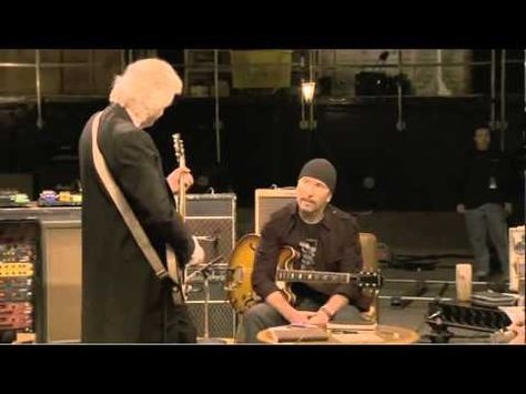"""Muse performing Where The Streets Have No Name with guest star David """"The Edge"""" Evans from U2 at the Glastonbury Festival in England in June 26th 2010. Setli..."""