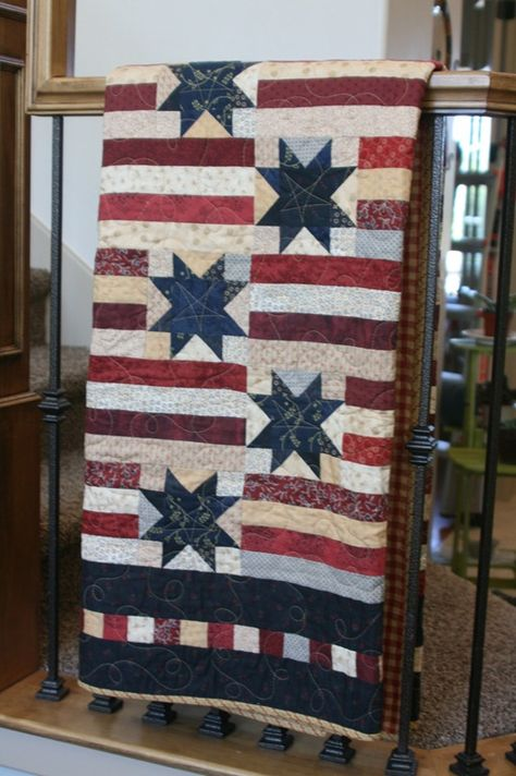 This beautiful Patriotic quilt has wonderful colors and great design. The blocks in the border add interesting detail.