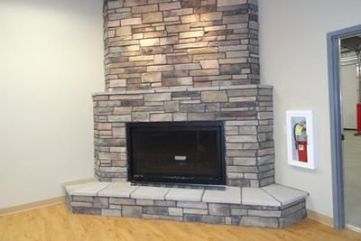 Mendota DXV 35 gas fireplace with Dracme real stone one piece ...