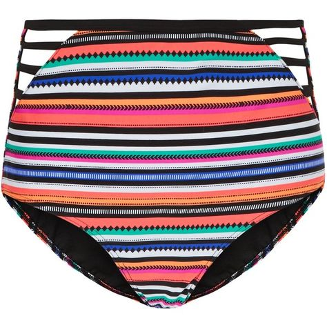 0ad60e2ad0273 New Look Multicoloured Stripe High Waist Bikini Bottoms (£13) ❤ liked on Polyvore  featuring swimwear, bikinis, bikini bottoms, multicolour, ...