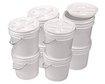 Bucket Kit Eight White 2 Gallon Buckets With White Gamma Seal Lids Review Gallon Lidded 2 Gallons