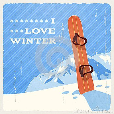 Retro Winter Landscape with Snowboard- can't wait to hit the slopes!