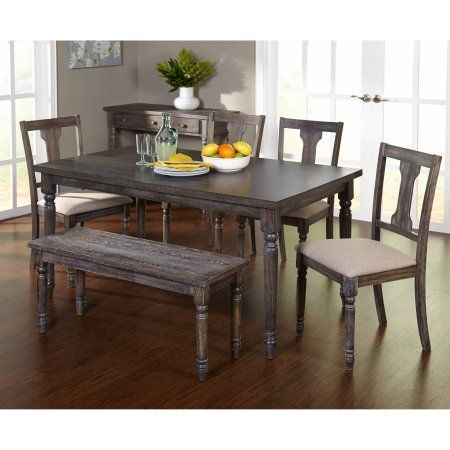Arena 6 Piece Burntwood Dining Set With Bench Walmart Com Dining Set With Bench 5 Piece Dining Set 7 Piece Dining Set