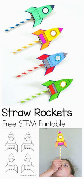Bonita actividad de un cohete con un popote o pajilla