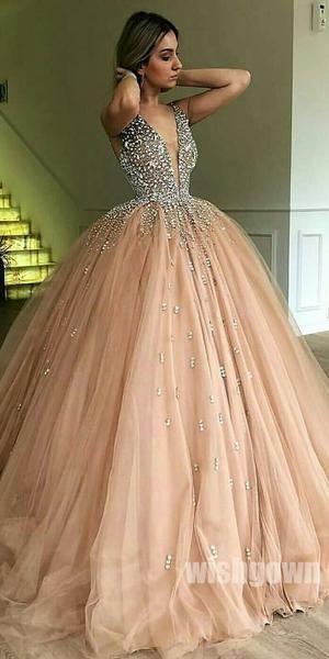 Beaded Top Tulle Elegant V Neck Long Prom Ball Gown Dresses, MD1123