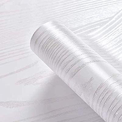 Hode Contact Paper Silver White Wood Grain Self Adhesive Wallpaper Peel Stick Film 40cm 200cm Shelf Liner Paper Furniture Furniture Vinyl Wood Grain Wallpaper