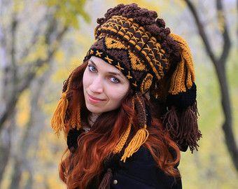 Black white festival headdress unisex adult crochet tribal winter hat