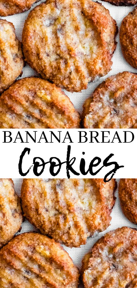 Banana bread cookies are a delicious and healthy treat the whole family will enjoy. They are gluten free, dairy free,  and full of banana flavor - with just a hint of cinnamon. You'll love this easy banana cookie recipe! Don't forget to pin this to your banana bread recipe board! #glutenfree #bananas #paleo #vegan#healthy #healthytreats #cookies #bananacookies #dairyfree