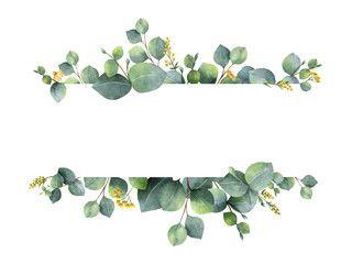 2020的watercolor Vector Bouquet With Green Eucalyptus Leaves And