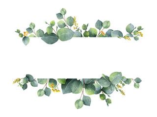 Watercolor Green Floral Banner With Silver Dollar Eucalyptus