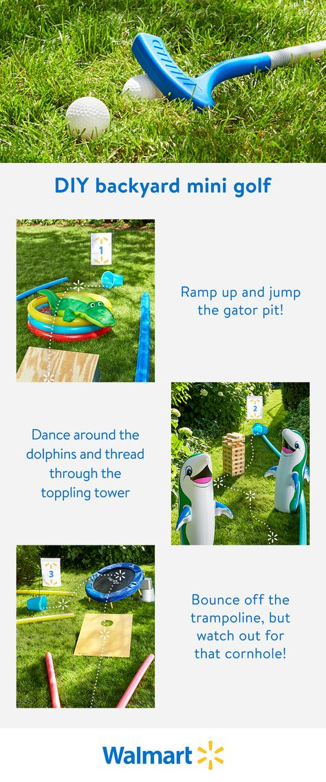 Looking for some fun backyard games for kids? Building your own DIY mini golf course is easy. Getting over the gator pit is the real challenge.