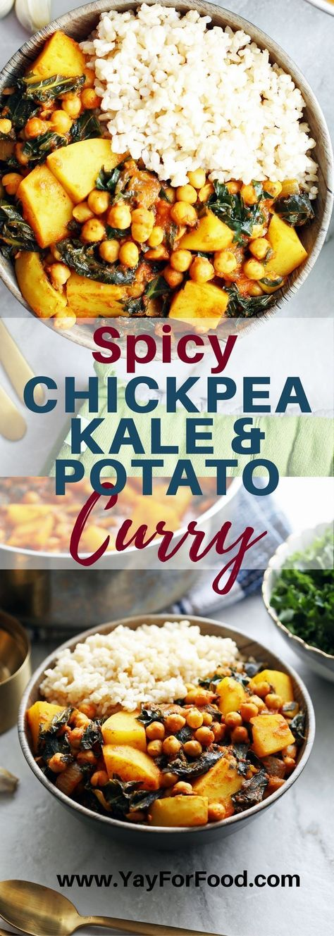SPICY CHICKPEA KALE AND POTATO CURRY - A delicious 40 minute dish featuring chickpeas, potatoes, and kale all in a spicy tomato based curry. #vegan | #vegetarian | #glutenfree | #curry | #chickpea | #easyrecipes | #chickpeas | #dinner | #maindishes | #spicyfood