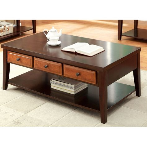 Furniture Of America Divonne Dual Tone Coffee Table Dark Oak