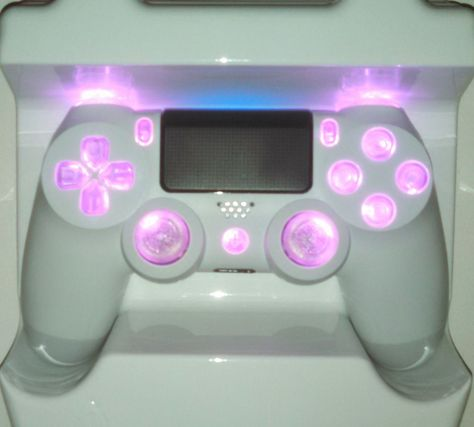White PS4 Controller Custom Pink LED Mod [Strong Durable Thumbsticks]