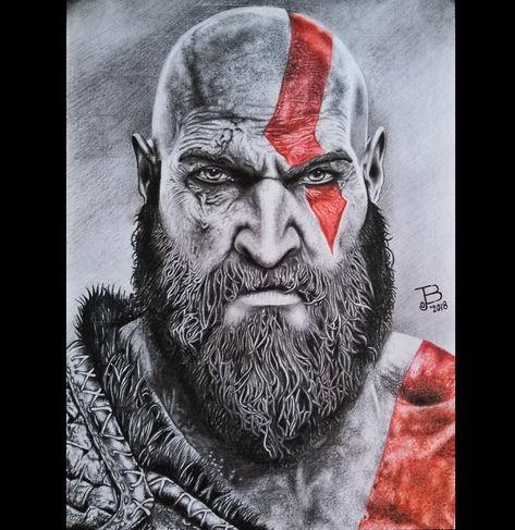 Kratos God Of War 4 Por Ejboart Retratos Dibujando Net