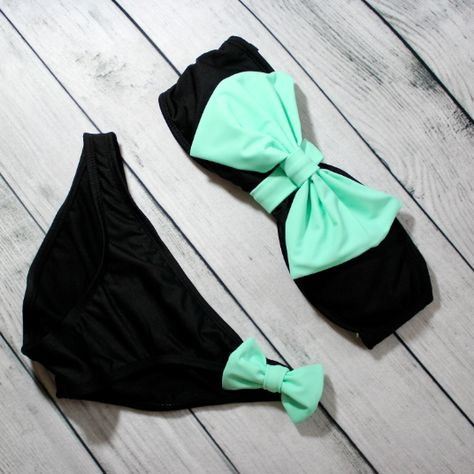 cuteeeeee beyond words! swimsuit bikini summer spring outfits 2014 mint bowkini bow beachwear