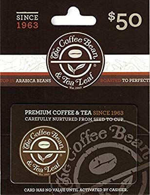 Amazon Com The Coffee Bean And Tea Leaf 50 Gift Card Gift Cards Coffee Bean Gifts Food Gift Cards Gift Card Balance