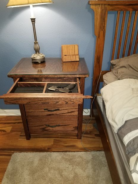 Night Stand With Locking Secret Hidden Drawer Nightstand