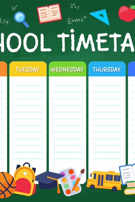 School timetable. Weekly planner schedule for students, pupi (1027975) | Educational | Design Bundles
