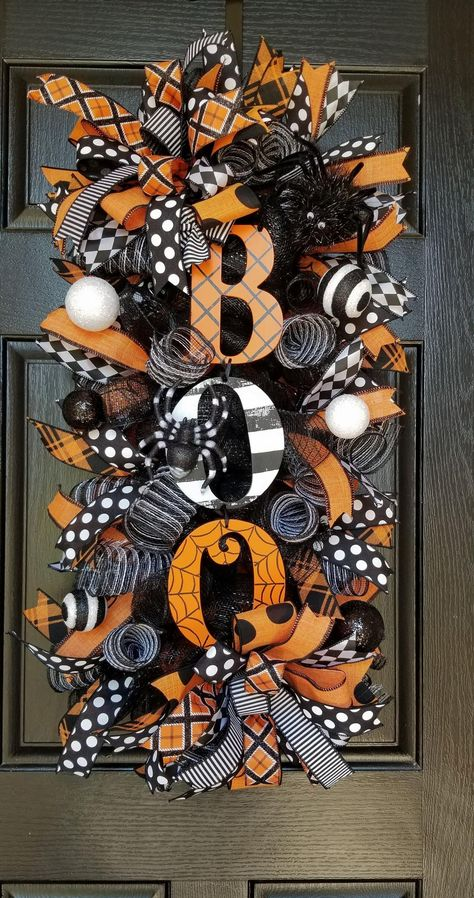 This item is unavailable - Halloween Wreath, Halloween Swag, Halloween Wreaths For Front Door, Front Door Wreath, Halloween De Source by etsy Boo Halloween, Halloween Ribbon, Halloween Porch, Halloween Projects, Diy Halloween Decorations, Holidays Halloween, Christmas Decorations, Halloween Deco Mesh, Halloween Door Wreaths