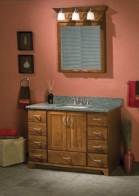 48 Inch Zenith Door Cherry Wood Medium Color Lighted Medicine