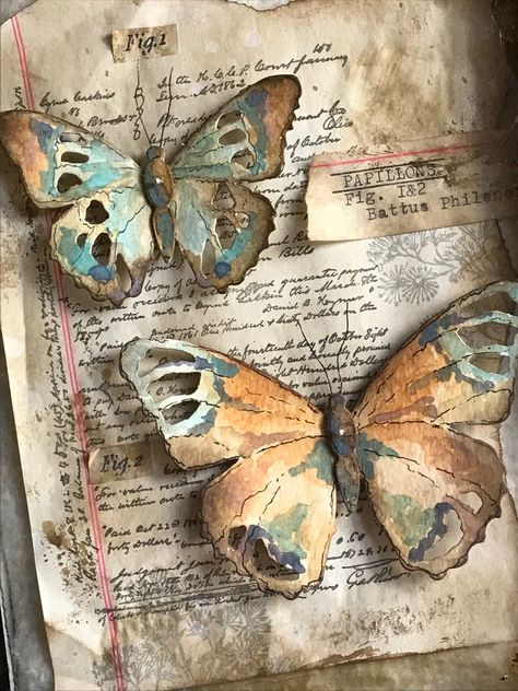 I'm back today sharing a butterfly specimen case I created using the new Tattered Butterfly Bigz Die that was released by… Mixed Media Canvas, Mixed Media Collage, Collage Art, Butterfly Art And Craft, Butterfly Cards, Origami Butterfly, Kunstjournal Inspiration, Art Journal Inspiration, Diy Paper