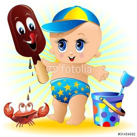 Vettoriale: Bambino Neonato al Mare con Gelato-Baby with Ice Cream-2-Vector