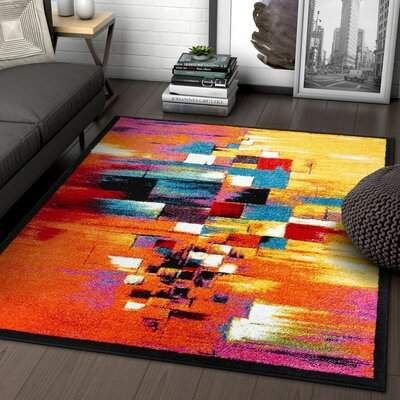 Latitude Run Brooksville Abstract Red Orange Blue Area Rug Wayfair In 2020 Area Rugs Colorful Rugs Red Rugs
