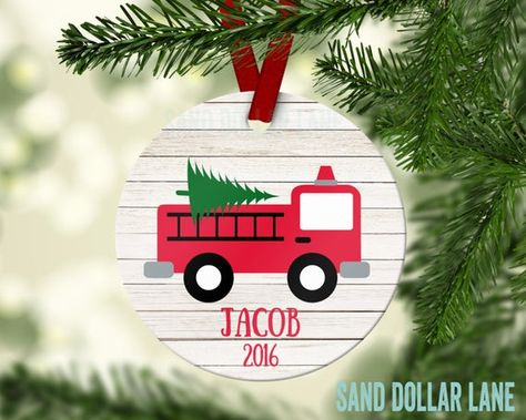 Firetruck Ornament - Personalized Ornament - Name Date  Fire Fighter Fire Truck Customized Christmas
