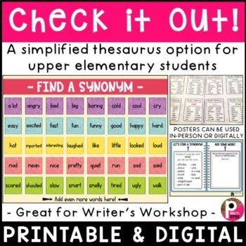 Thesaurus Synonym Charts Distance Learning In 2021 Writing Skills Writing Process Chart Distance Learning
