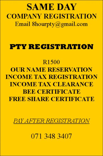 Same day Company RegistrationsPty registration with income tax - company share certificates